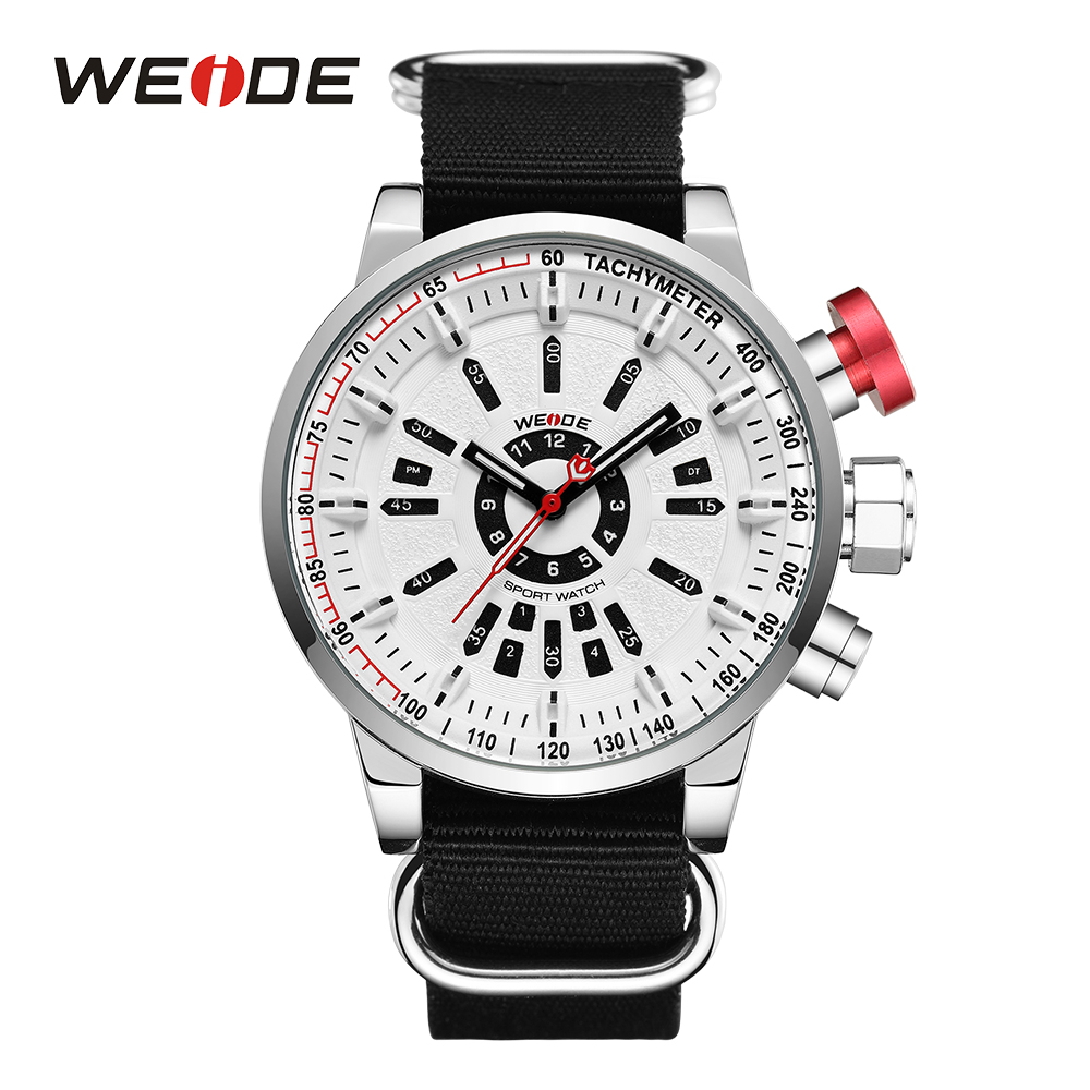 WEIDE Men Sports Watch Military Black Nylon Strap White Dial Quartz Movement Analog Round Hardlex Buckle Male Clock Wristwatches weide men sports watch quartz digital lcd display stopwatch silicone strap buckle date black dial military wristwatches for man