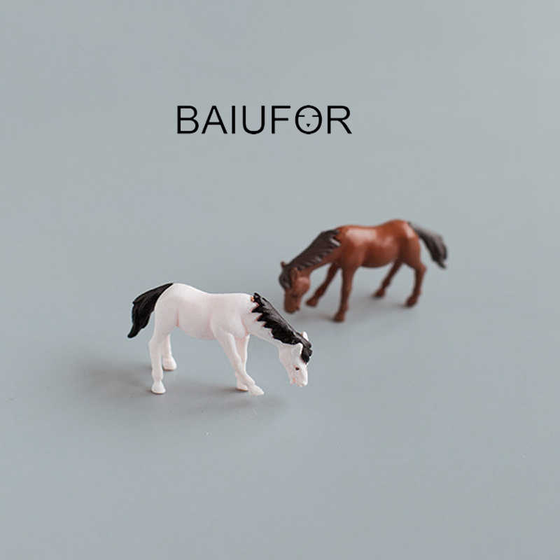 BAIUFOR Miniatures Terrarium Animals Mini Horse & Deer Fairy Garden Figurines Doll House Decor Succulents Decor Home Accessories