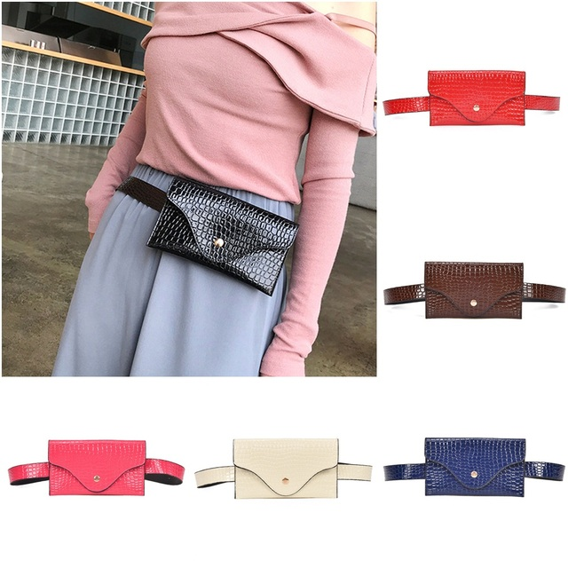 b610934e49c Women Waist Belt Bag Fanny Pack Purse Phone Mini Clutch Pouch Stone Fashion Pu  Leather Waist Packs Female Women S Waist Bag