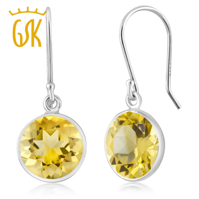 Gemstoneking 925 Sterling Silver Gemstone Earrings 4 00 Ctw 9mm Round Natural Citrinedangle For Women