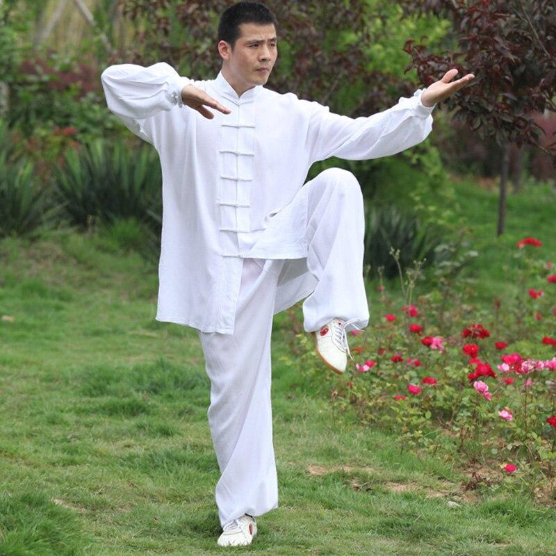 USHINE Height 110cm-185cm Black White Noil Poplin KungFu TaiChi Suits Uniform Fitness Sets Man Woman
