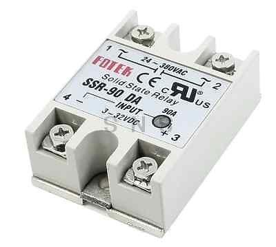 Baomain SSR-90DA DC to AC Solid State Module Relay Gray 3--32V 24-380V