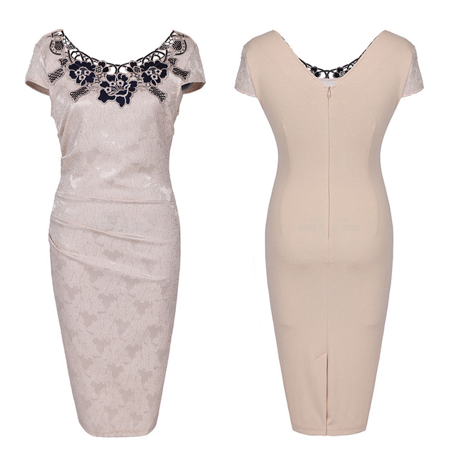 Euro-US style, 2019 new spring summer Women's clothing,Pencil dress,Lace ,Sexy,Round neck, 4