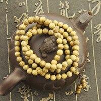 High Quality 6mm 108 Pcs Qinan Huanghuali Prayer Enamel European Bead Mala Wood Rosary Necklace Bracelet