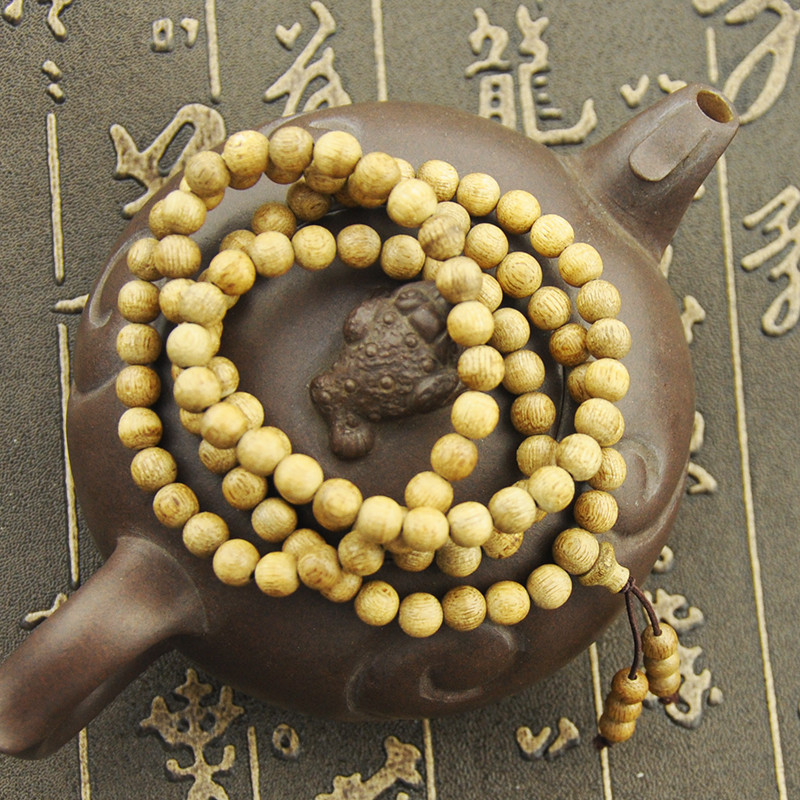 High Quality 6mm*108 Pcs Qinan Huanghuali Prayer Enamel European Bead Mala Wood Rosary Necklace Bracelet Worry Komboloi Brown