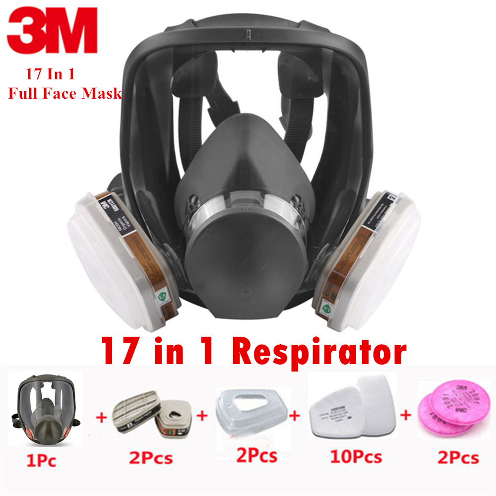 3M Full Facepiece Chemical Respirator Mask with 6001 Gas Cartridges Anti-Organic Vapor Acid Gas Ammonia Hydrogen 17 In 1 Set 3m 6800 6001 respirator full facepiece reusable face mask filter protection mask anti organic vapor 7 items for 1 set lt100