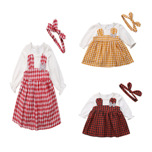 Cute Newborn Baby Girl Rabbit Party Dress Overall Tutu Long Sleeve Plaid Patchwork Dresses Spring Winter Clothes