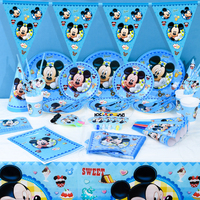 Disney Mickey Mouse 83pcs/lot Family Party Mickey Blue Tableware Set Cup Plate Napkin Child Boy Birthday Party Candy Gift Bag