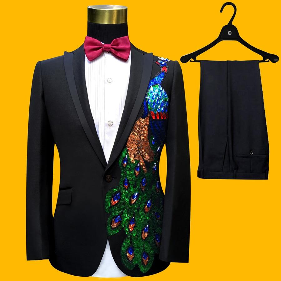 Plus velikost oblečení pro muže (bunda + kalhoty) S-4XL móda černá Paillette vyšívané mužské zpěvák štíhlý výkon Party Prom kostým