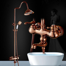 цена на Dofaso retro rose gold shower faucet Antique Brass Wall Mounted Bathtub Shower Set Faucet Dual Handle shower tap