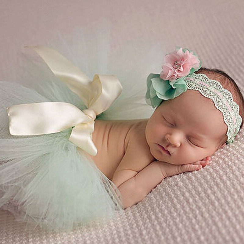 Lovely Newborn Baby Girls Tutu Skirt Headband Costume Photography Prop Outfits newborn baby photography props infant knit crochet costume peacock photo prop costume headband hat clothes set baby shower gift