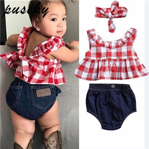 Puseky Kinder Kleinkind Baby Mädchen Kleidung Rüschen Plaid Tops Shirt Demin Bowknot Shorts Stirnband Sommer Nette Baby Kleidung 0- 24 mt
