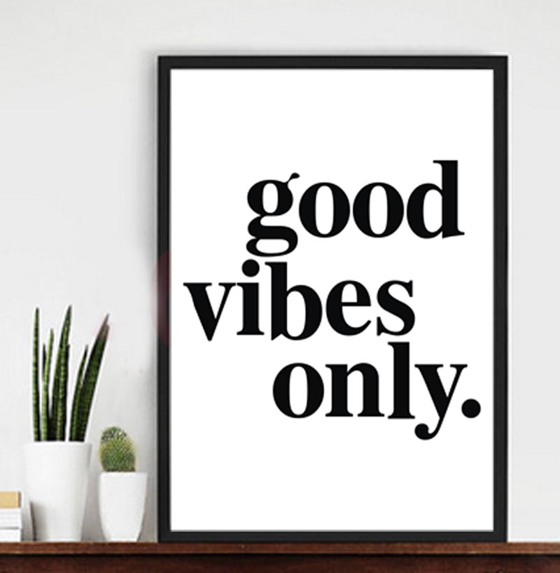Inspiration quotes good vibes only canvas print wall poster pictures for interior decorframe not include in painting calligraphy from home garden on