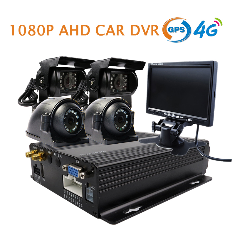 Free Shipping NEW 4CH GPS 4G 1080P AHD 256GB SD Car DVR MDVR Video Recorder 7 TFT + Rear Side View Car Camera for Truck Van Bus 4 channel 256g sd car vehicle dvr mdvr video recorder kit cctv rear view camera dome camera for truck van bus free shipping