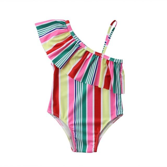 Детские обувь для девочек Купальник одно плечо купальники малышек красочные радужные полосы ванный Комплект Размеры От 3 до 7 лет