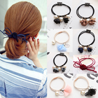 New Arrive Fashion Girls Korean style Hair Rope 3D Flowers Ponytail Holder Scrunchie elegant Elastic Hair Bands
