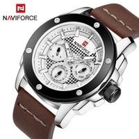 NAVIFORCE Top Luxury Brand Men S Analog Sports Quartz Clock Men Army 24 Hours Leather Waterproof