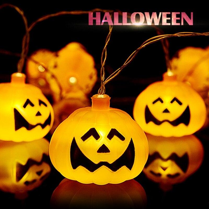 Skeleton Lantern Pumpkin Skull String Light LED For Halloween Party Christmas Decor - Plastic Skull Battery Operated