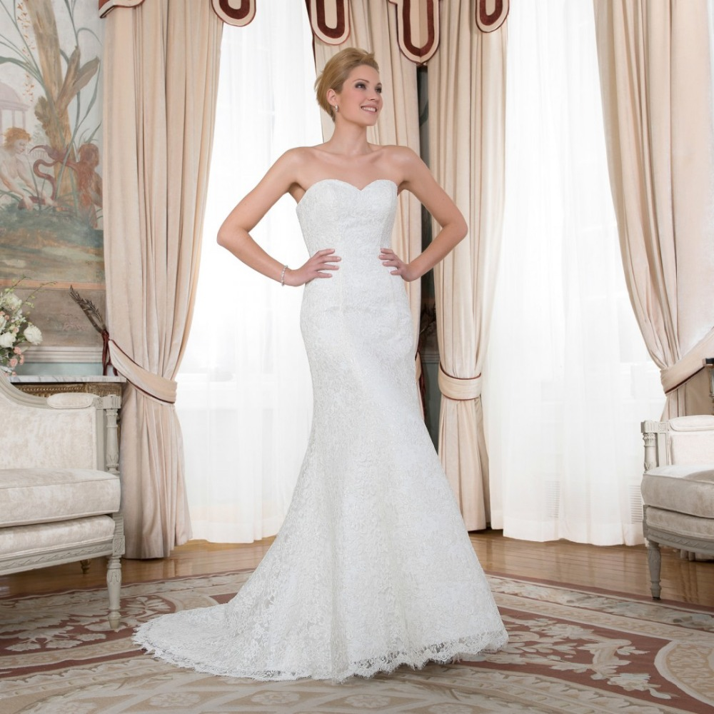 Ivory Wedding Gowns: 2015 SIMPLE FULL APPLIQUES BERYDRESS SWEETHEART IVORY