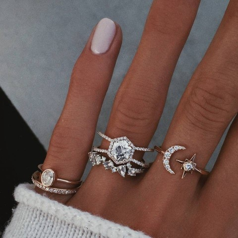 Fashion Multi-piece Women Finger Ring Sets 2019 Sweet Crystal Water Drop Bohemia Charm Ring Sets For Women Party Jewelry Gift Lahore