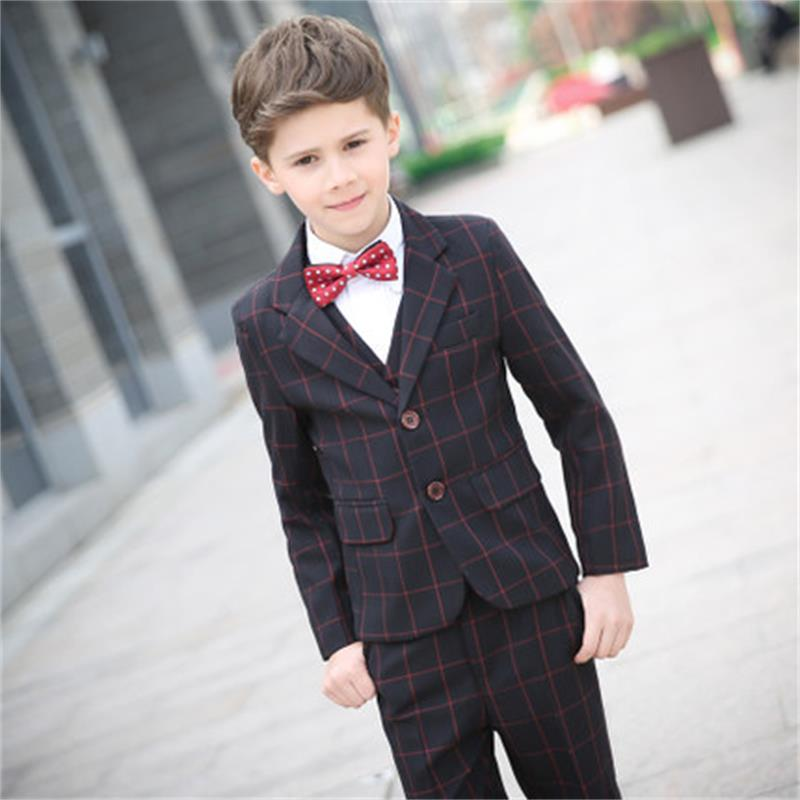 Children suit suit flower girl dress boy plaid small suit big child Korean version of the piano costume kimocat boy and girl high quality spring autumn children s cowboy suit version of the big boy cherry embroidery jeans two suits