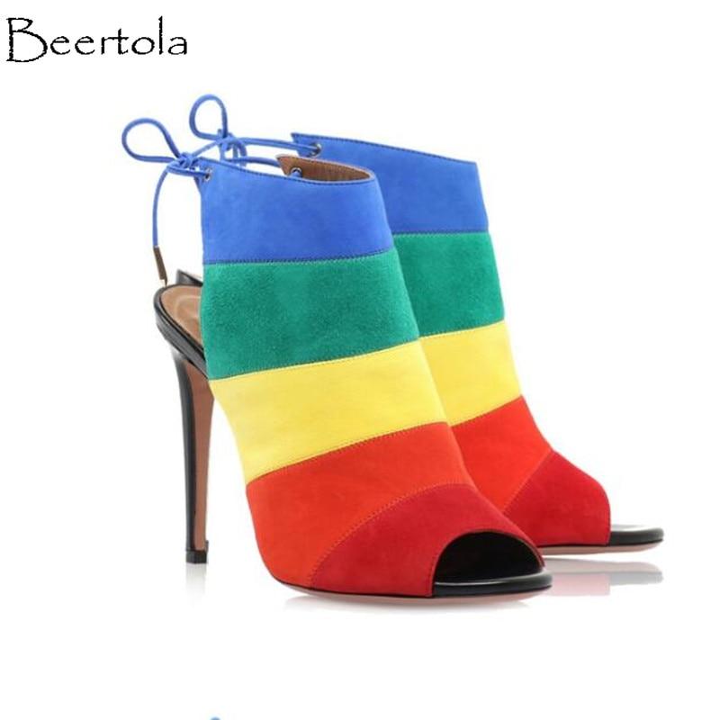 Peep super Arc Bride Troupeau Sandales Beertola as Mixte Qualité Bout Talons en Mode Top Picture Femmes Cheville À La Nouvelle Picture As Couleur Haute Chaussures Douces qIxzx6nY