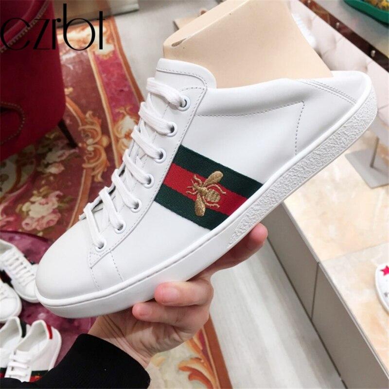 Czrbt 2019 nouveau printemps chaussures femmes mode en cuir véritable baskets femmes décontracté antidérapant marque de luxe zapatos de mujer