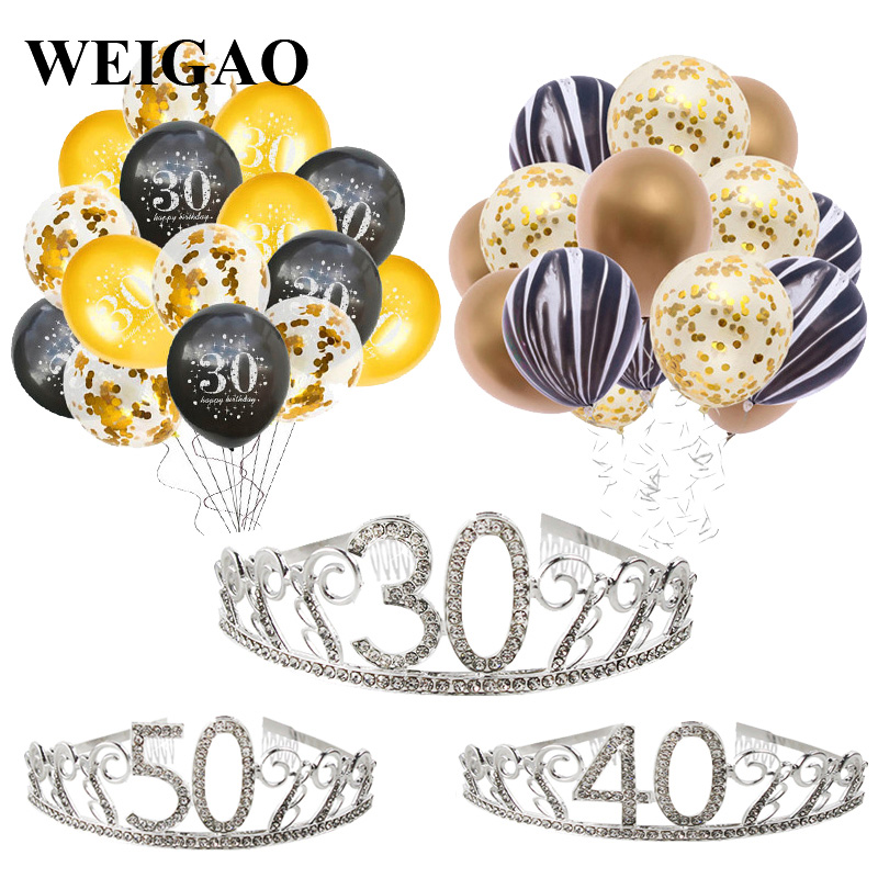 WEIGAO 30/40/50th Happy Birthday Balloons Gold Latex Balloon Party Decoration Adult Big 30th Party Decor Globo Birthday Supplies