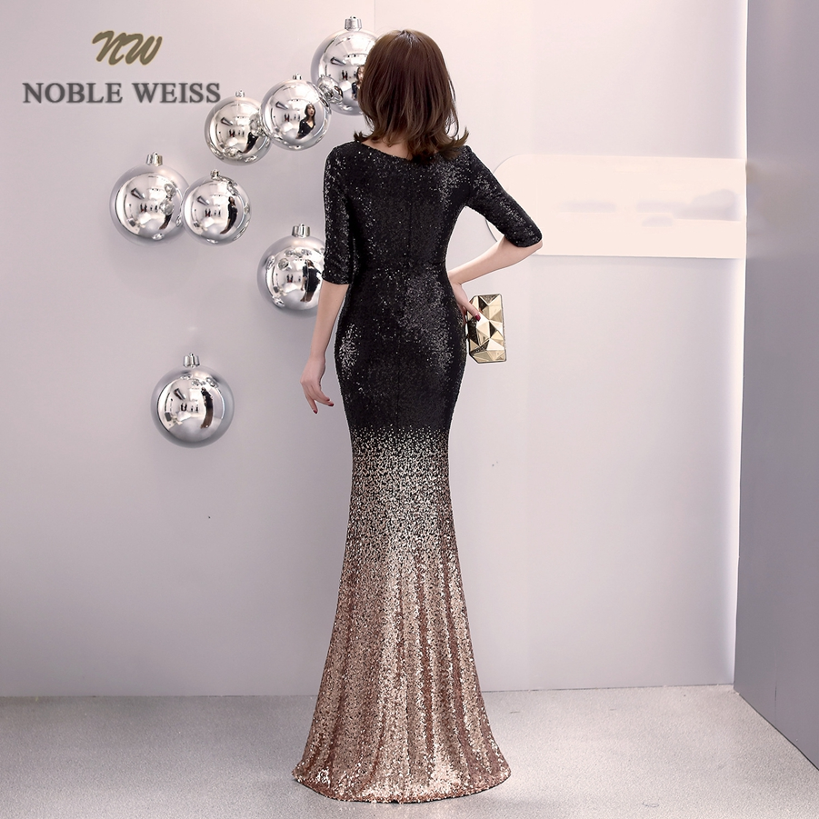 Image 2 - prom dresses 2019 v neck mermaid prom dress sexy vestidos de gala  zipper back floor length prom gown with short sleevesProm Dresses   -