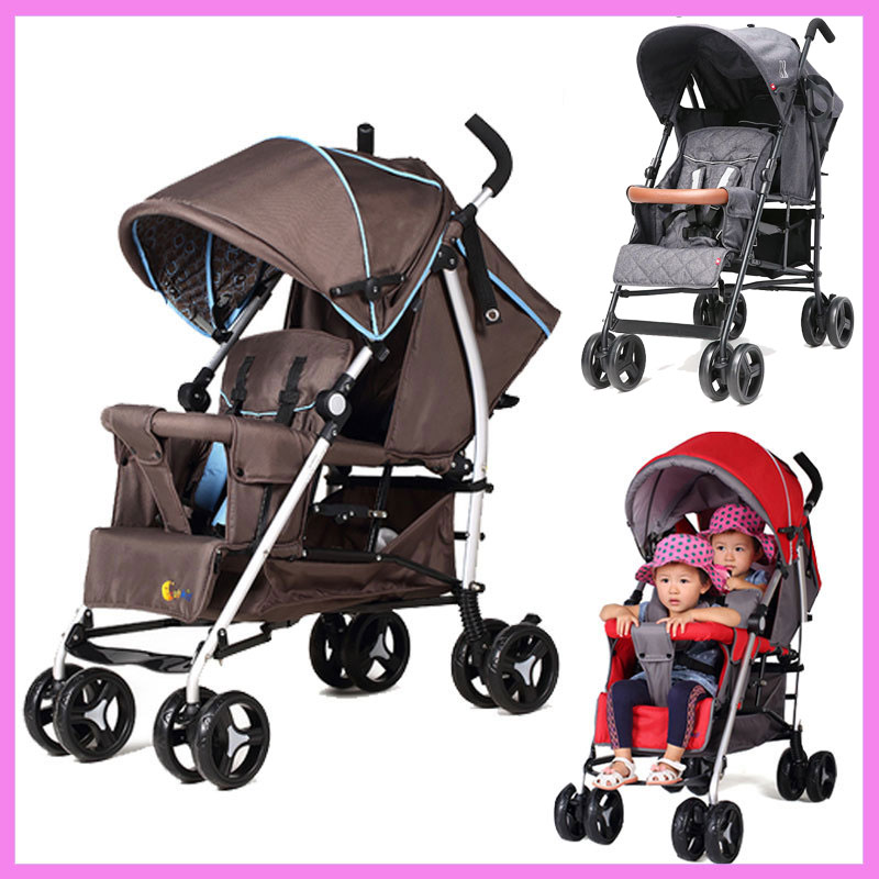 Can Sit Lying Twins Baby Stroller Lightweight Pram Folding Travel System Two Babies Double Stroller Cart Buggy Pushchair 1 M~4 Y industrial equipments board moxa pci serial cards rs232 c104h pci