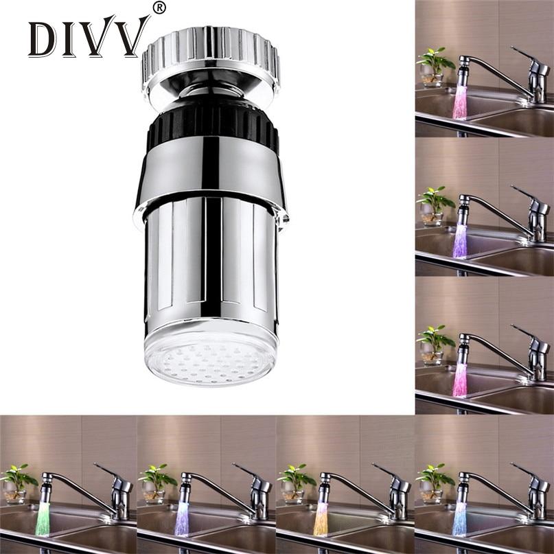 Home Supplies Kitchen Sink 7Color Change Water Glow Water Stream Shower LED Faucet Taps Light drop shipping Wholesale 0525 water stream color change led light luminous faucet