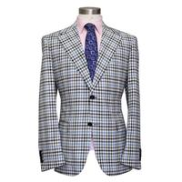 חלון גדול של גבר משובץ צבעוני פסים חליפת עסקים, חליפת הצמר המשובח, כחול/אפור/קפה, העידו MTM של איש מעיל 2018 VA