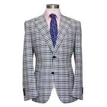 colored striped big window plaid man's business suit , finest wool suit , blue/grey/coffee,bespoke man's MTM coat free shipping