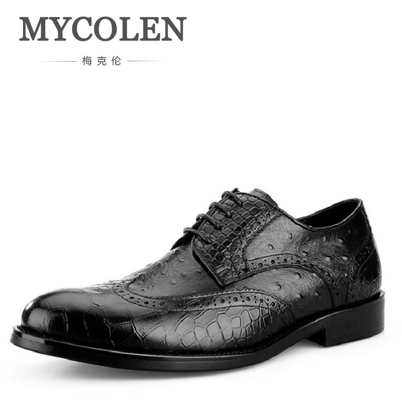 все цены на MYCOLEN Men Business leather Shoes High Quality Crocodile Formal Dress Shoes Man Pointed Toe Brogue Carved Shoes Black