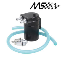 High Performance Black Baffled Aluminum Oil Catch Tank Can Reservoir Tank With 9mm 15mm Fittings And