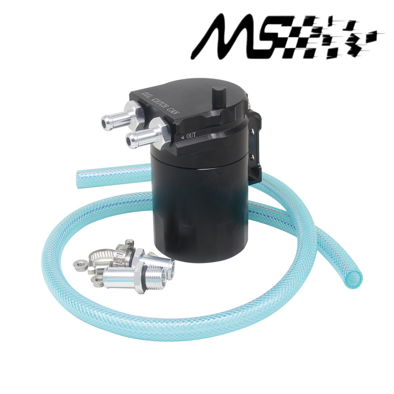 Universal Black Baffled Aluminum Oil Catch Tank Can Reservoir Tank with 9mm/15mm Fittings and Oil dipstick