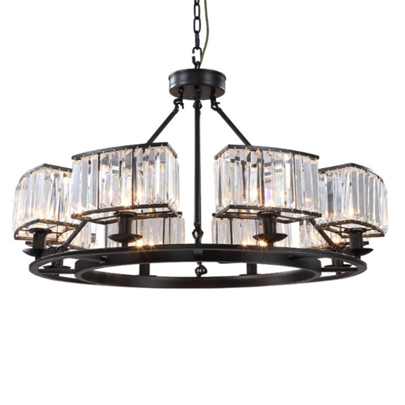 American Retro Wrought Iron Crystal Shade Pendant Chandelier Industrial RH Loft Lamp Fitting for Living Room Rustaurant Kitchen