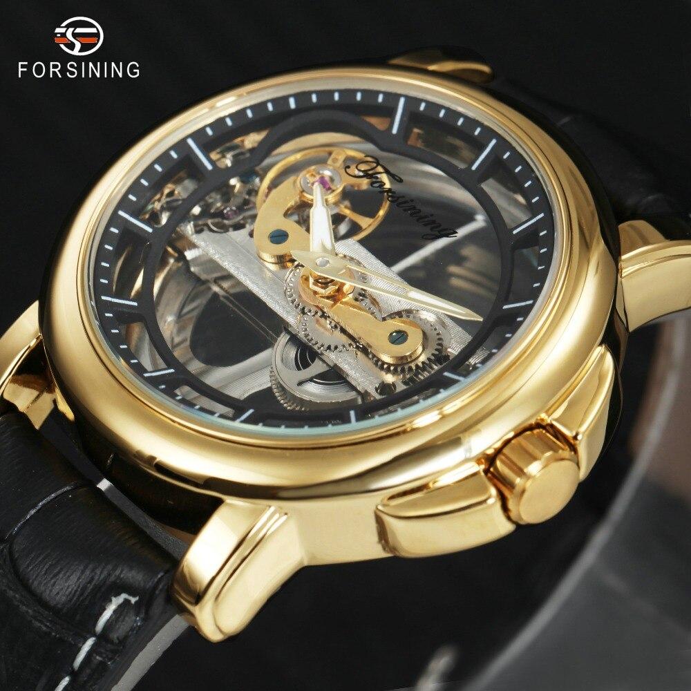 цена на Top Brand Luxury Golden Bridge Watches Men Genuine Leather Strap Transparent Skeleton Dial FORSINING Auto Mechanical Wristwatch