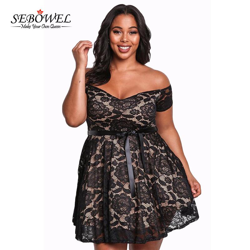 f8848916c SEBOWEL Plus size Black Lace Floral Short Dress Women Sexy Off ...