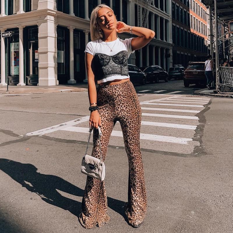 HTB11wg3XcfrK1Rjy1Xdq6yemFXa1 Hugcitar high waist leopard print flare leggings 2020 autumn winter women fashion sexy bodycon trousers club pants