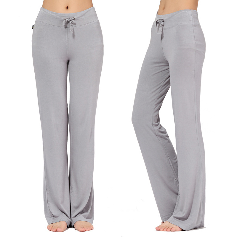 Sport Wide Leg Pants Modal High Waist Stretch Women Flare Pants Dance Club Loose Long Trousers S-4XL (2)