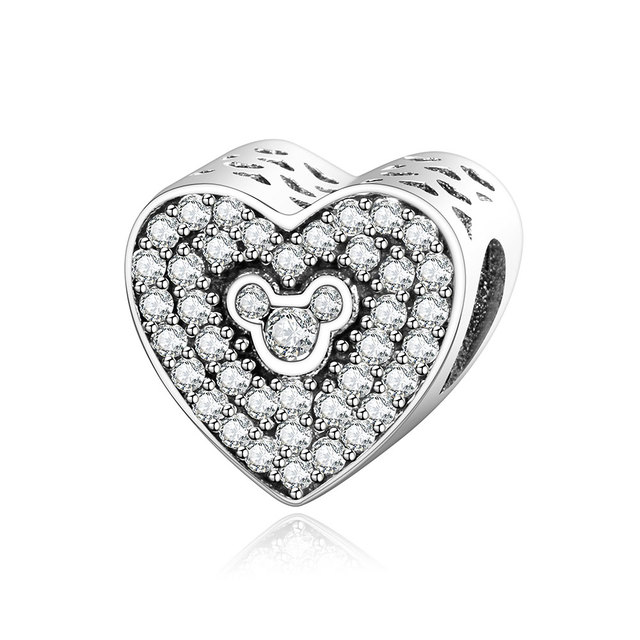 2017 valentines gift collection fit original pandora charm bracelet 925 silver mickey heart beads diy jewelry - Valentines Pandora Charms