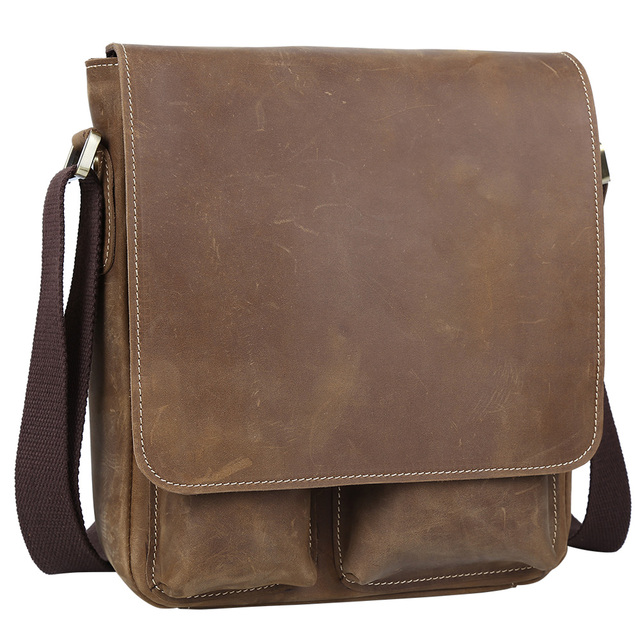 4e7ad24ceee9 New Vintage Top Quality Genuine Leather Messenger Bags Men s Shoulder Bag  for iPad Vintage Small Brown