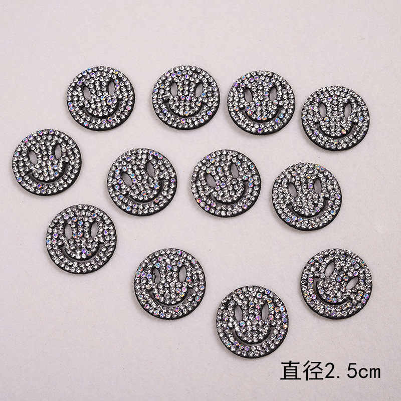 ... 10PCS Sparkling Rhinestone CAT EAR SMILING FACE EMOJI CARTOON Clothes  Patches Fashion Sequined DIY Appliques Bling dd0d15a531a1