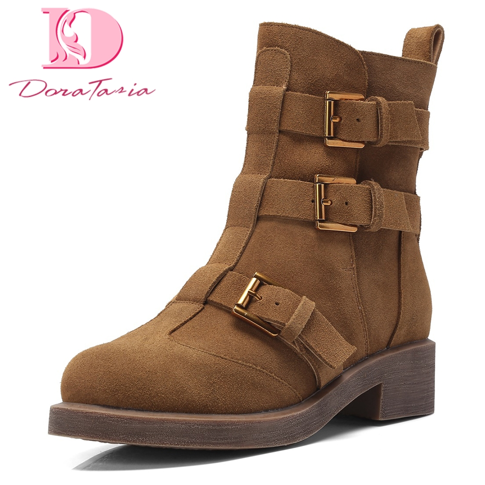 DoraTasia Brand new plus size 33-41 Genuine Leather Buckles Retro western Ankle Boots Woman Shoes Woman Boots Shoes WomenDoraTasia Brand new plus size 33-41 Genuine Leather Buckles Retro western Ankle Boots Woman Shoes Woman Boots Shoes Women