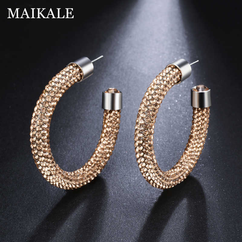 8d85f9d76 ... MAIKALE New Fashion Austrian Crystal Hoop Earrings for Women Big Round  Shiny Large Circle Rhinestone Earings