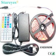 1 комплект 5 м 300 светодиодный SMD 5050 RGB светодиодный лента 12 В постоянного тока неводонепроницаемая лента фонарик освещение с ИК-пультом дистанционного управления+ 5A адаптер питания