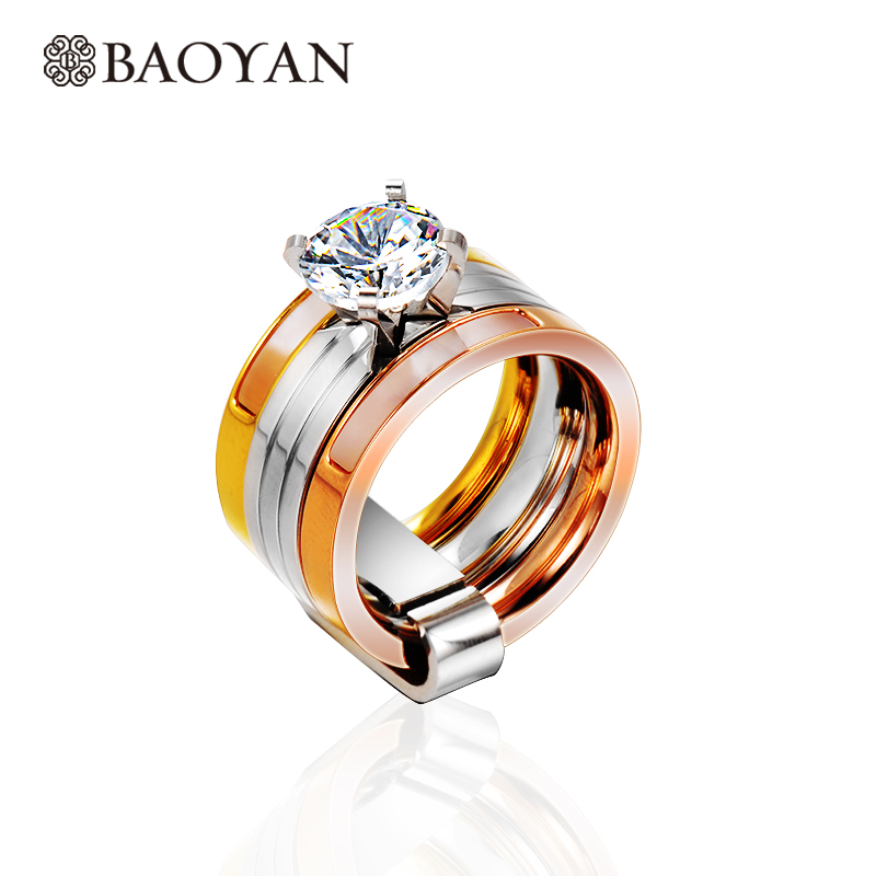 Triple Color Gold Rose Gold Silver Color Stainless Steel Solitaire Ring Chic Engagement Ring for Women
