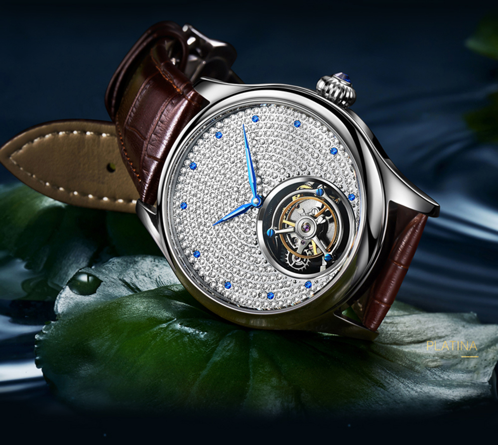 2019 Real Tourbillon Mechanical Hand Wind Sapphire Mens Watches Top Brand Luxury Rhinestone Clock men Gold Relogio Masculino 19