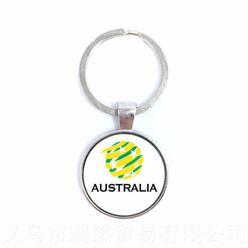Os Fãs de futebol Chaveiro Argentina/Egito/Austrália/Panamá/Brasil Selecção Nacional de Futebol Emblema Chaveiro Para Divertimentos De Cúpula de Vidro presente